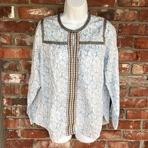 J Crew blue and white long sleeve blouse size 6